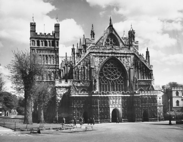 The West Front end of Exeter Cathedral. The early 12th century Norman towers were retained by Bishop Bronescombe whose rebuilding began in 1270 and took over a century