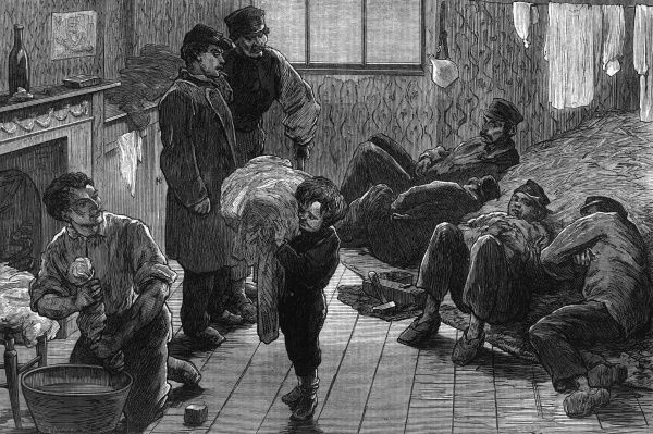 Living as best they can, French communist refugees after the collapse of the Commune find refuge in London. Date: 1872