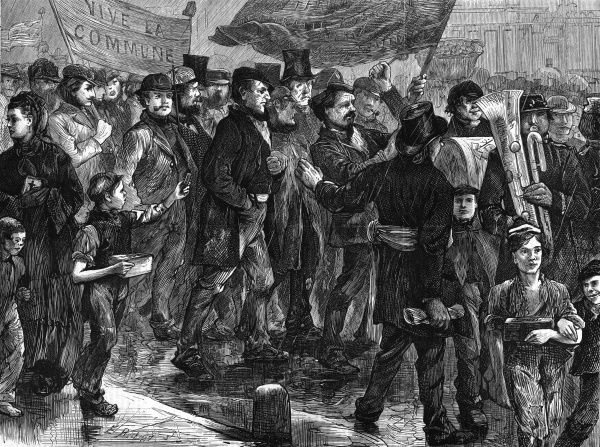After the collapse of the Commune, French Communards take refuge in London : they process through the streets on Sunday mornings, soliciting money from the crowd. Date: 1871