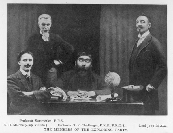 The exploring party: Professor Challenger, with Malnone on his right, Lord Ruxton on his left, Professor Summerlee standing behind