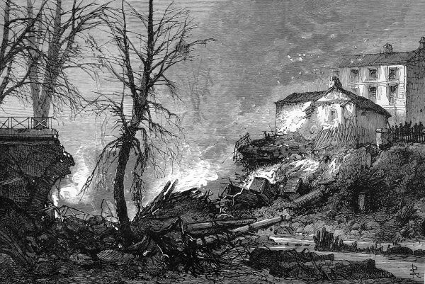 Explosion at Regents Canal, a barge covered in petroleum and gun powder blew up as it passed underneath the bridge on the night of1st of October 1874. Several lives were lost and near by houses destroyed