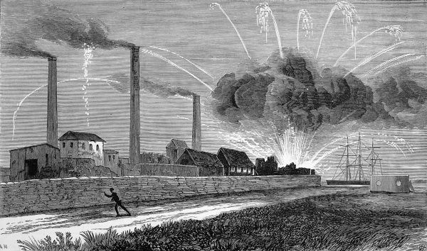 The explosion at a rocket factory at Woolwich Arsenal, as seen from Plumstead Marshes. The explosion occurred in the rocket storehouse, which was completely destroyed after the fire