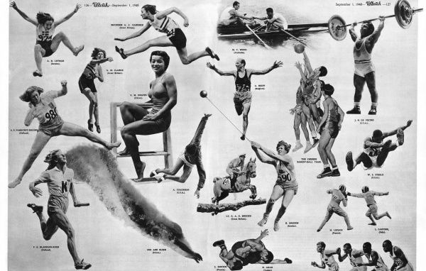 A selection of striking athletic images captured at the 1948 London Olympic Games. Date: 1948