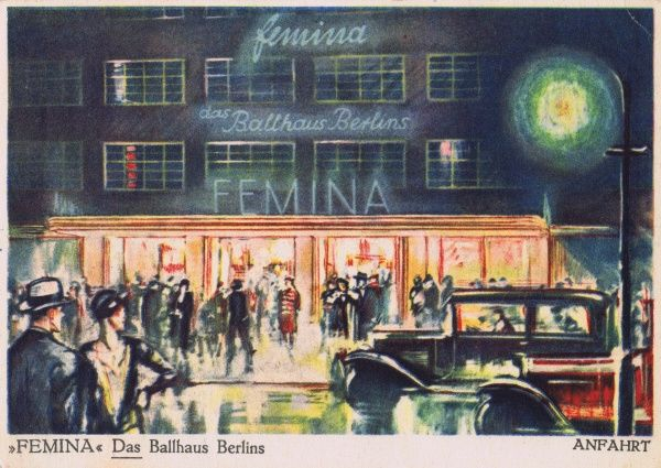 A sketch of exterior of the Femina, a fashionable ballroom / cabaret in Berlin Date: 1920s
