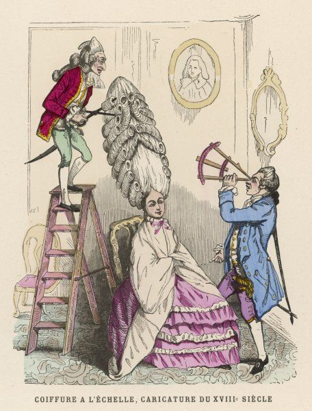 Coiffeurs at work on an extravagant hair style : a contemporary satire on the fashionable excesses of the late 18th century