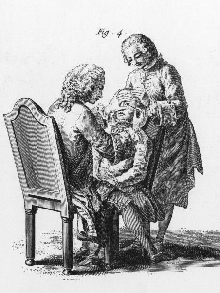 An eye operation is performed on a youth by two bewigged gentlemen Date: circa 1760