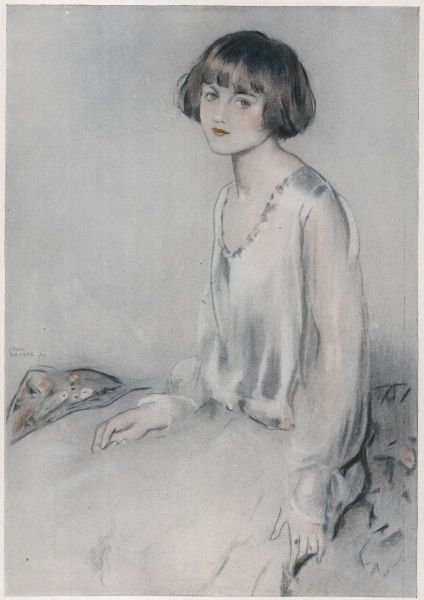Illustration by Lewis Baumer of a young girl with bobbed hair which would become commonplace during the 1920s