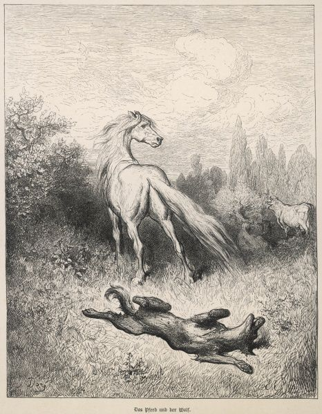 THE HORSE & THE WOLF The wolf attempts to beguile the horse to find an opportunity to eat him, but the horse is suspicious and kicks the wolf in the jaw