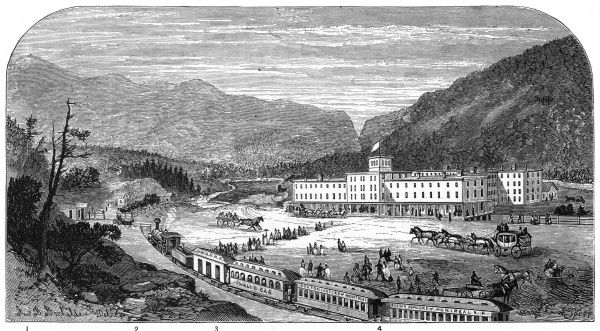 Fabyan House, a popular tourist hotel in the White Mountain area of New Hampshire, with convenient access to main line railroads. Date: 1874