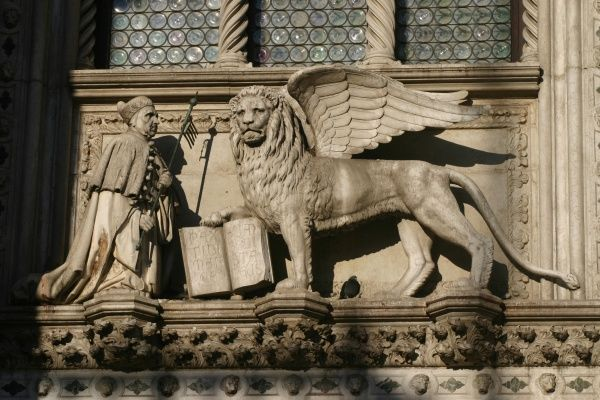 The lion of St Mark on the facade of the Ducal Palace, Venice