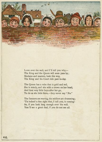 Eight faces looking over a wall -- they are expecting the King and Queen to pass by.  first published 1879