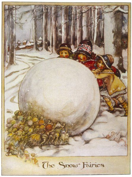 Fairies and children play with a giant snowball, each seeing which can push it hardest