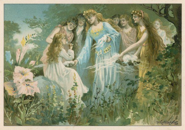 Fairies feed an earth-child on night-mist flavoured with the scent of flowers
