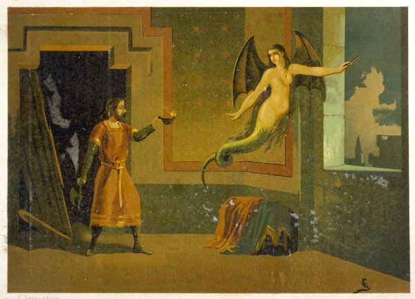 Raymond de Lusignan discovers that his wife is a fairy, and consequently - for that's how these things are - she has to leave him, for ever, flying from the castle window... Date: circa 1500