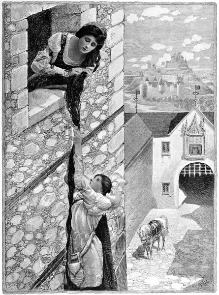 The prince climbing the golden ladder of Rapunzel's hair. Grimm's fairy stories told with photographs and illustrations. From the Christmas Number 1907