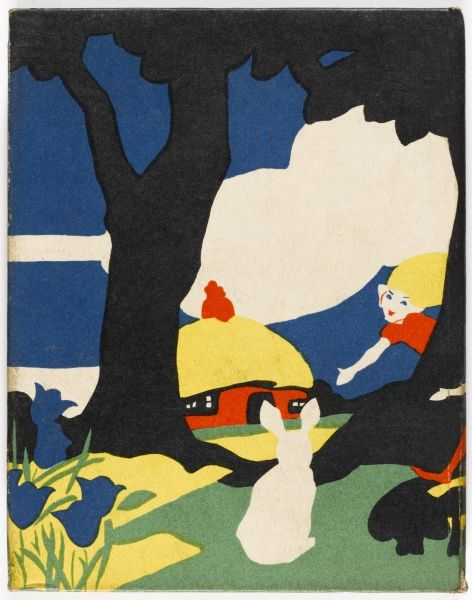 A bold, colourful yet charming scene showing an elf-like figure peering from behind trees and beckoning to a rabbit