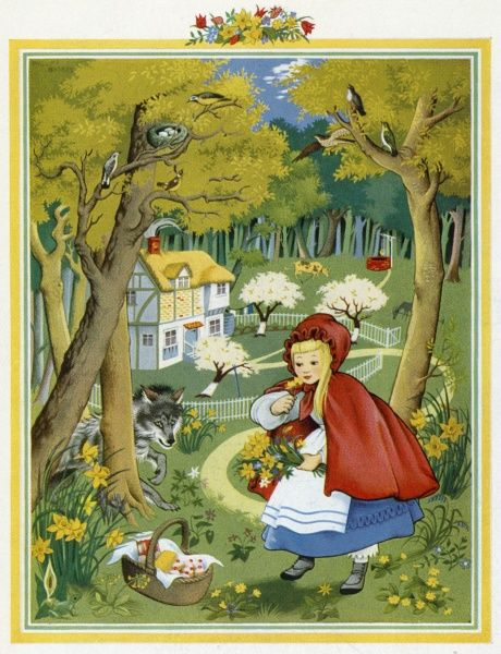 Red Riding Hood illustrated by Pauline Baynes, one of four fairy tales reflecting the seasons