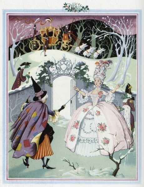 Cinderella by Pauline Baynes, one of four illustration of fairy tales which reflect each season. In this instance, Cinderella is transformed by her fairy godmother into a dazzling princess while her coach (formerly a pumpkin) awaits pulled by six white mice