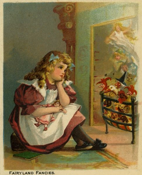 Fairyland Fancies -- a little girl gazes into the fire, seeing imaginary figures of fairies, witches and goblins.  late 19th century