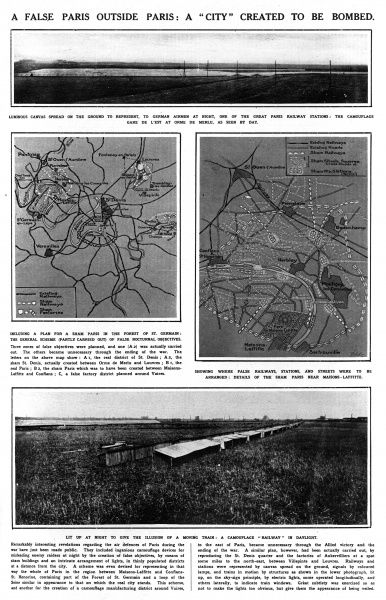 A page from the Illustrated London News, 1920, illustrating a 'sham' Paris, created to trick German pilots flying at night into thinking they were bombing Paris during World War One. A false railway is shown in day light, and a stretched canvas