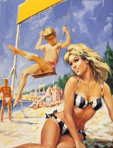 A glamorous family on the beach - a blonde woman in a bikini sunbathes while a boy plays on a swing and a man in white bathing trunks looks