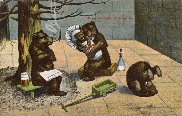 A family of anthropomorphic bears in their zoo enclosure in this rather bizarre fantasy postcard sent from Bern, Switzerland, Father bear smokes his pipe and reads his newspaper, whilst enjoying a stein of beer, whilst Mother looks after the