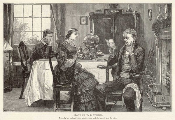'Presently her husband came into the room and she handed him the letter'; a typical Victorian husband examines a letter at the breakfast table