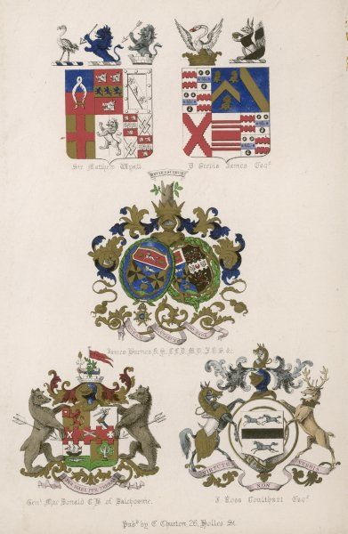 The coats of arms of five British families: James Burnes boasts the fine one in the middle