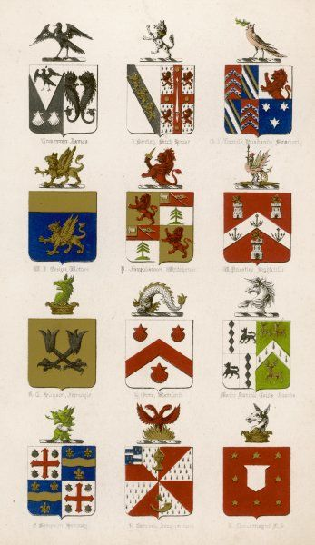 The coats of arms of twelve British families