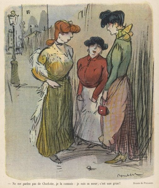 Three women chatting in the street: - You don't have to tell me about Charlotte, I know she's a cow, she's my sister!&quot