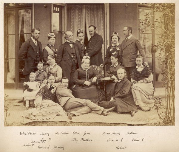 The Lang family and the Priors, at Harrow in 1876. The central figure is 'my mother', with 'my father' at her right shoulder. Various aunts and cousins