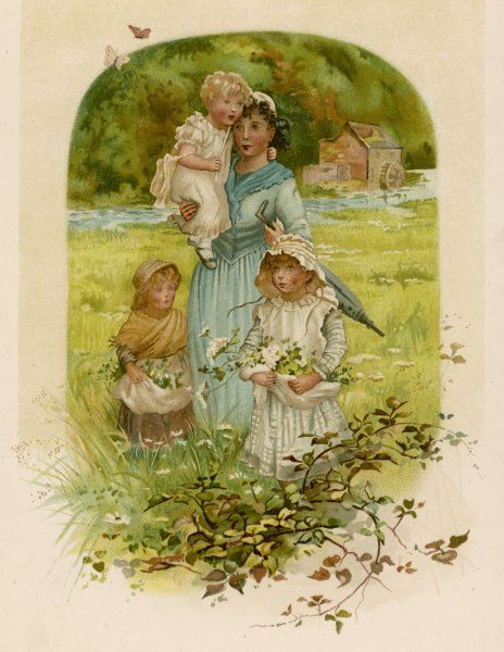 A mother and her three fair- haired children gather wildflowers by a mill
