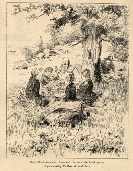 A family from the middle classes at picnic, 1895. Date: 1895