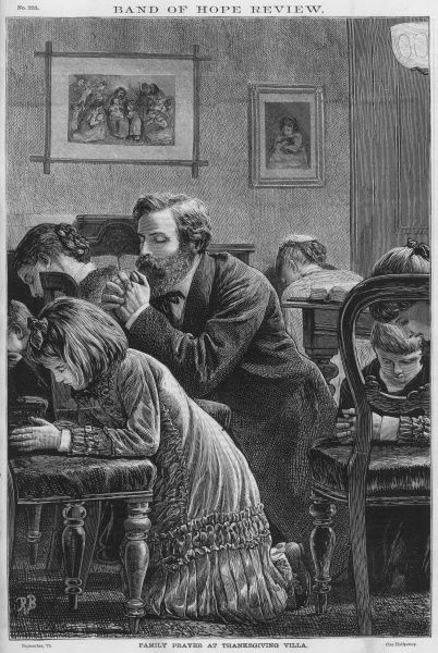 A middle-class Victorian English family kneel in prayer Date: 1879