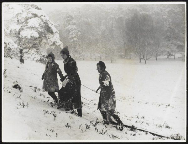 In a wintry scene at Oxshott, Surrey, a family pulls their sledges up a slope