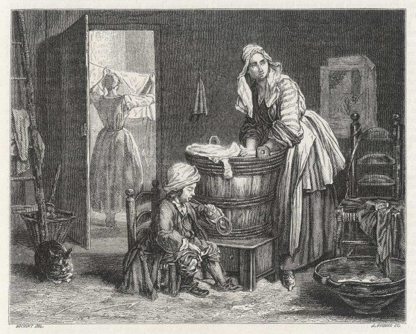 A French blanchisseuse leans over the tub while her daughter pegs things out to dry and her little boy blows bubbles