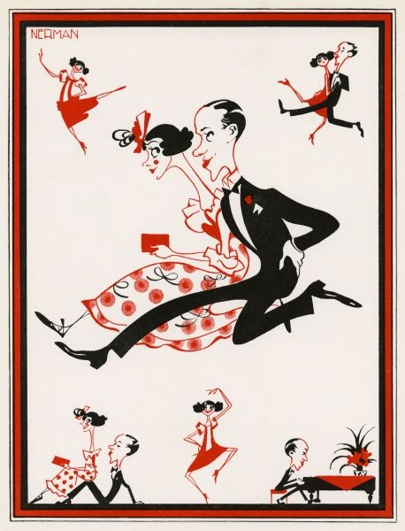 Caricature of brother and sister dance act, Fred and Adele Astaire by Nerman during the time of their successful run in Stop Flirting at various London theatres during the mid 1920s. Adele retired from dancing in 1932 when she married Lord Charles Cavendish