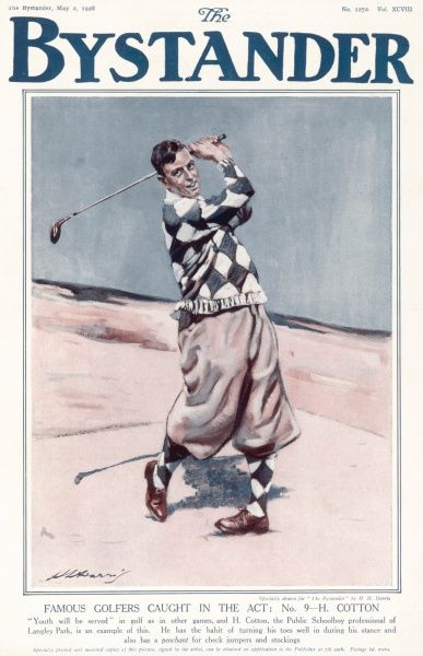 Pofessional golfer Henry Cotton, 1907- 1987. Henry Cotton became a professional golfer at 17, he won the British Open three times in his career. During World War II he organised golf matches in aid of the Red Cross. He was known to be a flamboyant character