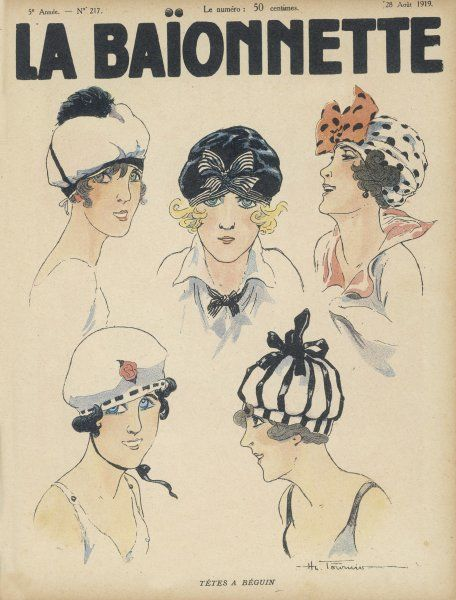 Five styles of cap for the summer resembling bathing caps, berets and turbans. Ornamented with bows large & small, a rose or a pom-pon they are very becoming