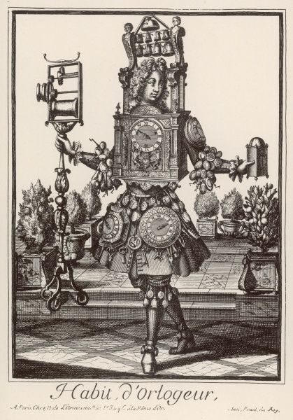 A fantasy clockmaker, dressed up in a costume made of clocks and clockmaking equipment