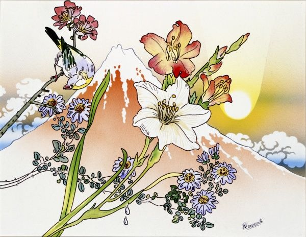 Fantasy Japanese landscape featuring a songbird perched on a variety of blossoms, a stylised sun and snow-capped volcanic peak, similar to the iconic outline of Mount Fuji. Watercolour painting by Malcolm Greensmith