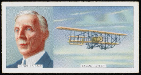 Henri Farman, French aviator, and his Farman Biplane, which he developed with his brother Maurice