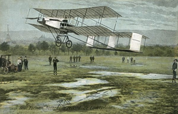 Henry Farman, an Englishman working in France, wins the Grand Prix for distance, at Reims, with a flight of 180 km in just over three hours Date: 27 August 1909