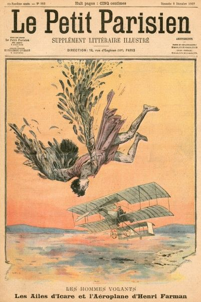 Henri Farman, French aviator: the success of his plane is contrasted with the fall of Icarus