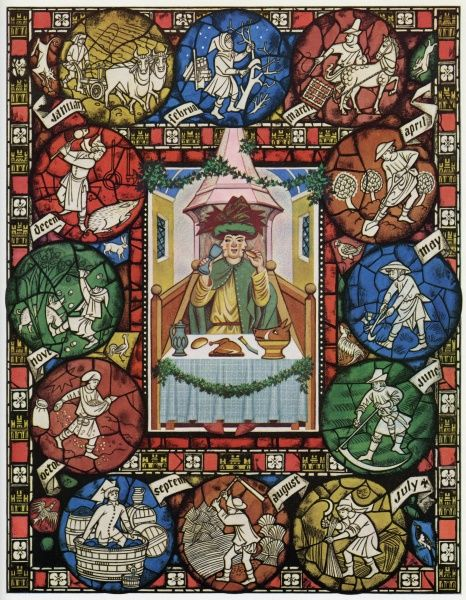 The Farming Year, painted in the style of a medieval stained glass window by Pauline Baynes, showing the agricultural activities of a farmer of the Middle Ages month by month