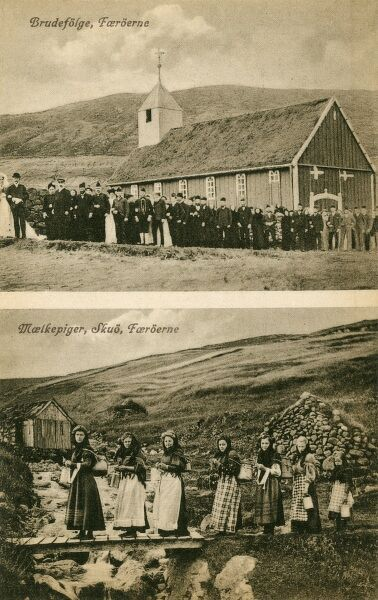 Mussel pickers (with large pots on their back) at Skuo, Faroe Islands, Denmark and a large wedding party (top) also on the Faroe Islands
