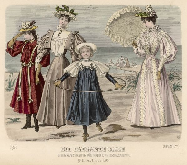 High-fashion on the beach: women in dresses with leg-of- mutton sleeves; one holds a parasol, while a girl in a sailor-style dress plays with a hoop
