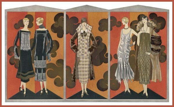Dresses & coats by Doucet: fur, handkerchief hemline, dentate border, chinese print, plaid, two-piece dresses, slash necklines, court shoes with bars, high stand collars