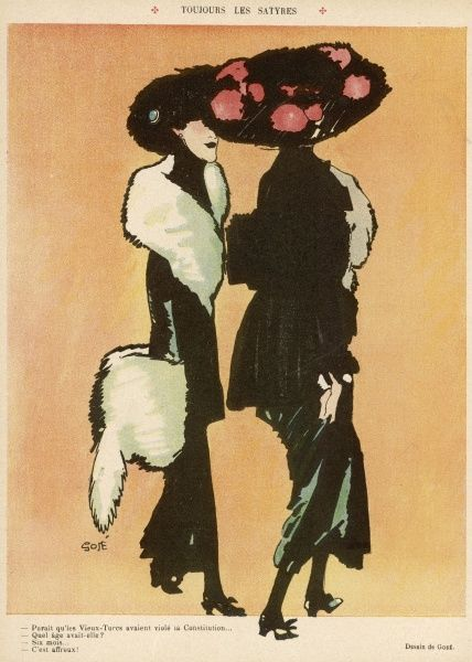 An impression of the top heavy fashions of 1909: large hats adorned with flowers, a narrow silhouette & and abundance of fur in the shape of stoles & muffs