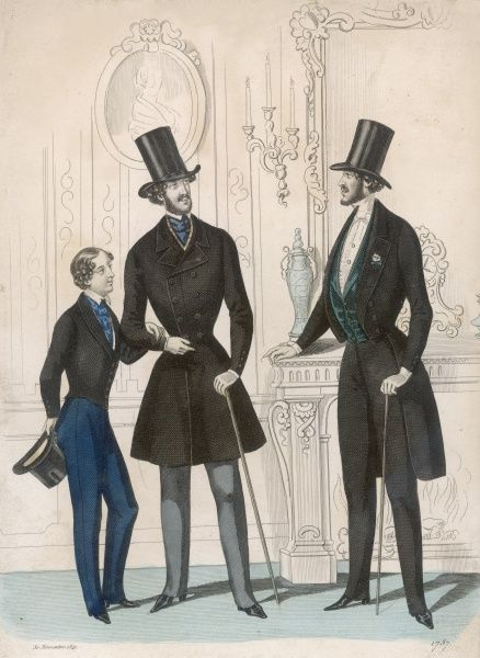 Boy: pantaloons & short jacket. Men: top hats with tall crowns, strapped pantaloons, cut-away coat with collar & lapels, green waistcoat, D-B coat with full skirt